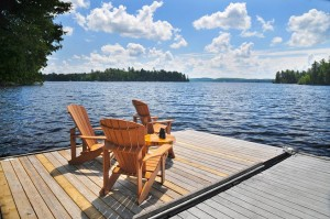 Muskoka chairs on the Island View House dock. Photo by Jon Vopni.