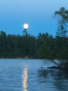 Moon rise over Gordon Island on Lake Cecebe